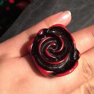 Red and Black Rose Ring